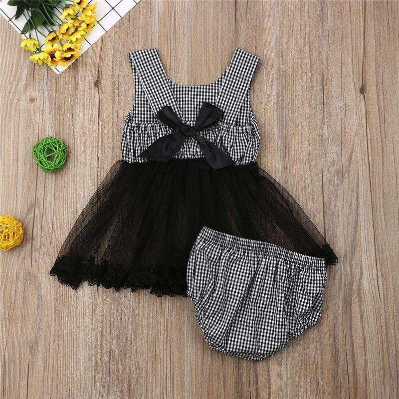 0-24M Mode Baby Mädchen Outfits Sommer Kleidung Mädchen Plaid Sleeveless Tüll Tutu Tops Kleid + Shorts Kinder Baumwolle 2 stücke Sätze