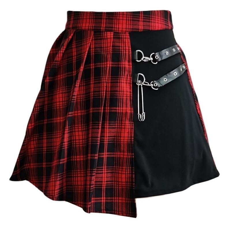 Gonna pieghettata Harajuku Gonna Gotica Gotica Irregolare A-Line A-Line High Waist Plaid Gonne Punk Sexy Clubwear Mini Gonna Skirt XS-4XL 210306
