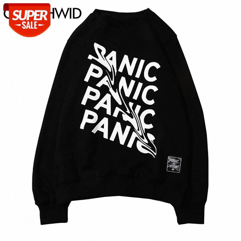 Designer Harajuku Creative Panic Imprimir moletom hoodies streetwear homens moda hip hop casual pulôver suor shirts tops masculino # cn1u