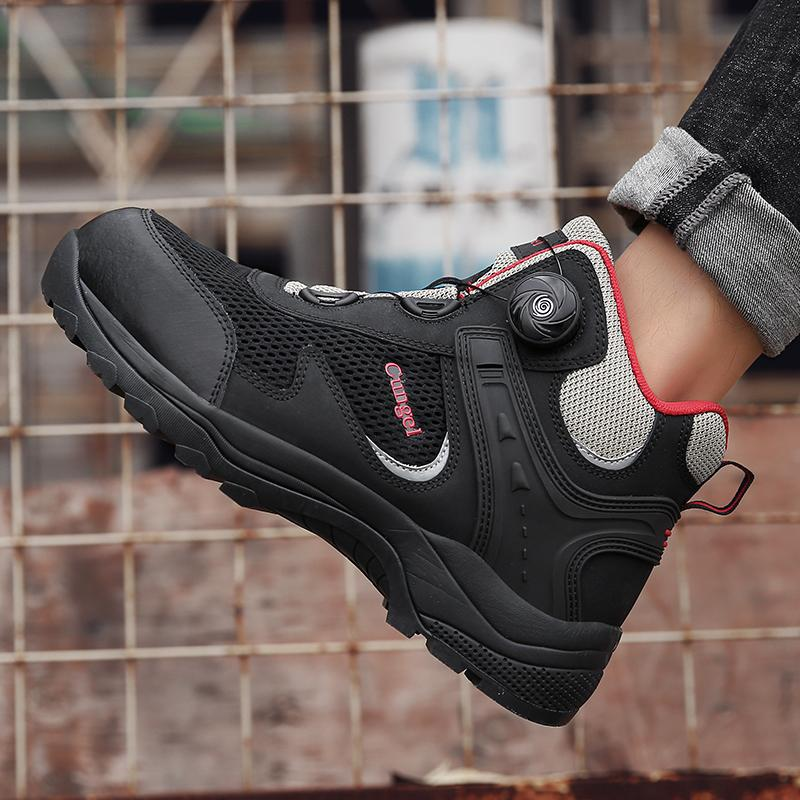 Mens Steel Toe Safety Shoes Breathable Construction Protective Footwear Anti-smashing Non-slip Sand-proof Work Boots