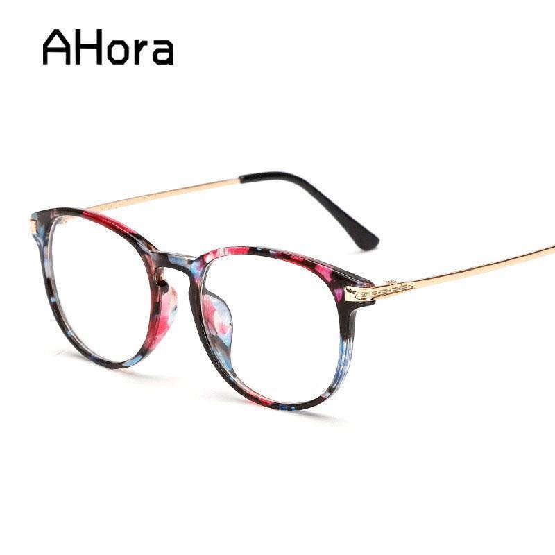 Moda Güneş Gözlüğü Çerçeveleri Ahora Klasik Çiçek Yuvarlak Optik Spetakles Çerçeve Kadınlar Clear Lens Gözlük Kadınlar için Düz Gözlük Unisex
