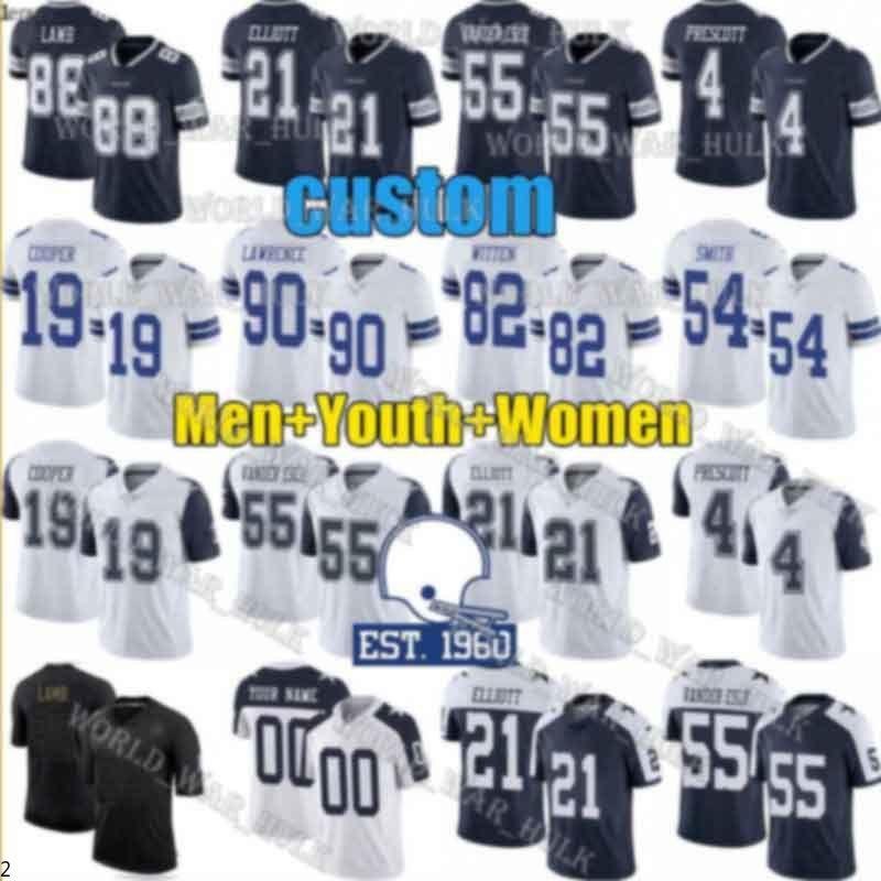 Mujeres mujeres jóvenes dallaVaquero4 Dak Prescott Ezequiel Elliott Leighton Vander Esch Amari Cooper Cedee Lamb Jaylon Smith Jerseys