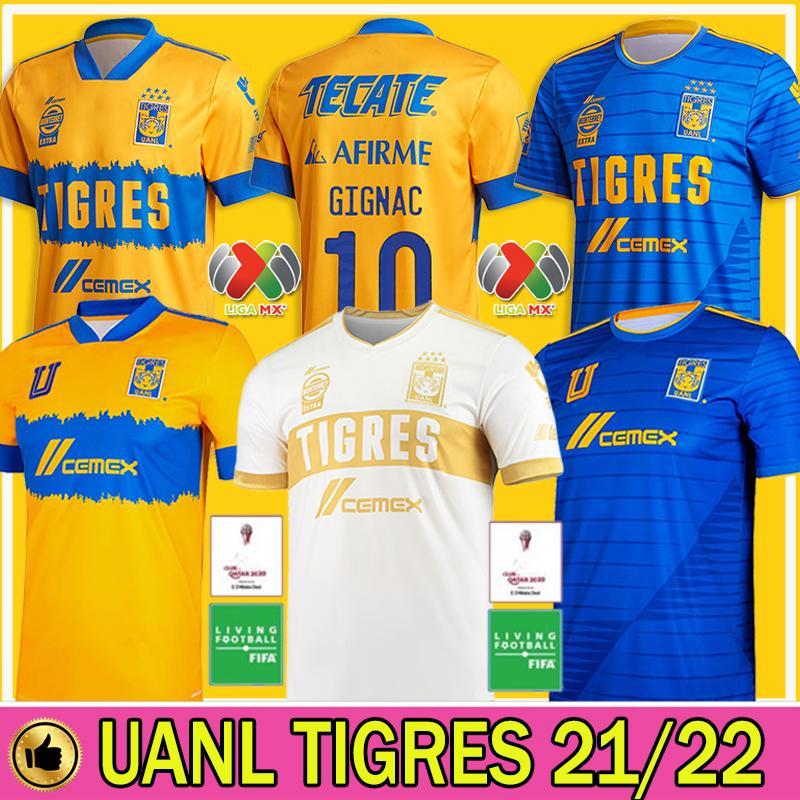 2020 2021 NAUL TIGRES Soccer Jerseys 20/21 7 Estrelas Home Terceiro GIGNAC VARGAS Goalkeeper Camiseta de Futbol MÉXICO LIGA MX Kids Shirts