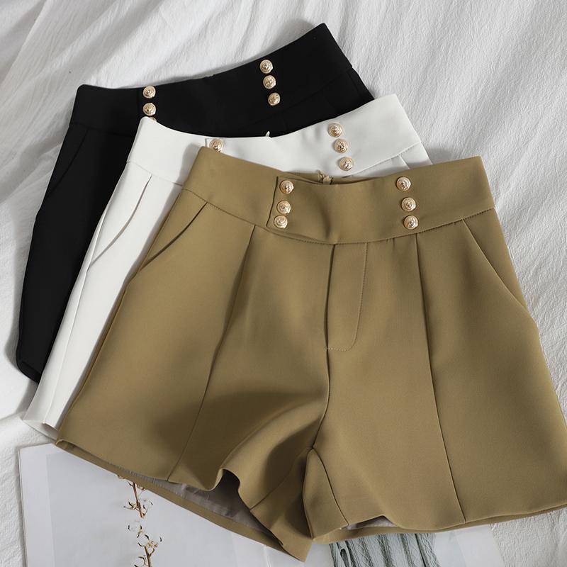 Fashion loose wide-leg shorts women spring Korean elegant female double-breasted high-waist straight-leg Shorts womens Q0131