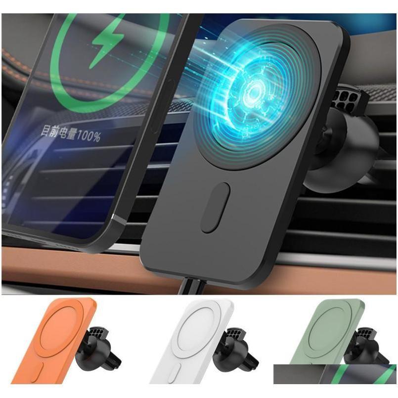 Автомобильный держатель E6 Беспроводное автомобильное зарядное устройство Автоматический зажим Быстрая зарядка для iPhone Android Air Vent Holder Holder 360 градусов Rotation Fast CU8PM