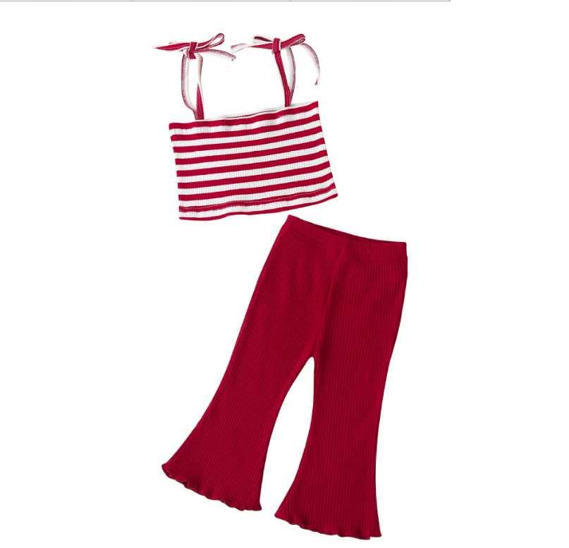 Moda Yeni 2021 Yaz Kız Kıyafetler Bebek Kız Takım Elbise Çiçek Tops + Şerit Flared Pantolon Çocuklar Setleri Çocuklar Yeni Giyim Çocuk Suit