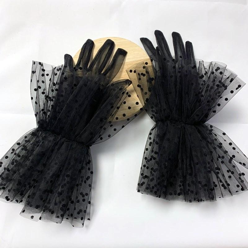 Schwarz Weiß Sheer Spitze Tüllhandschuhe Slim Dünne Braut Hochzeit Handschuhe Photo Shooving Party Kleid Handschuhe Guantes Transparentes Dot