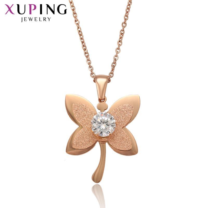 Xuping moda borboleta em forma de colares de aço inoxidável de aço inoxidável presente de jóias popular 46103