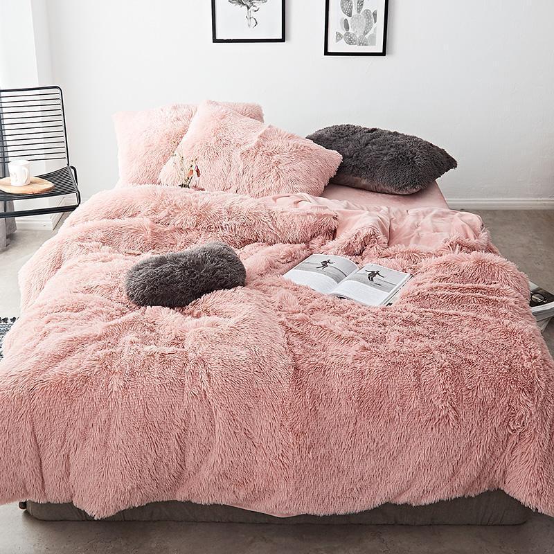 핑크 블루 화이트 회색 빨간색 보라색 녹색 겨울 두꺼운 양털 침구 세트 밍크 벨벳 이불 커버 침대 린넨 장착 된 시트 필로어