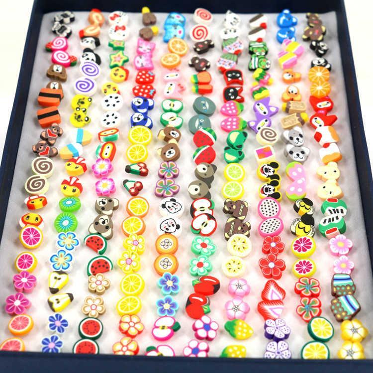 Boîte à la main 100 cartons, paires tranches fruits d'animaux, boucles d'oreilles en poterie douce et aiguilles en plastique