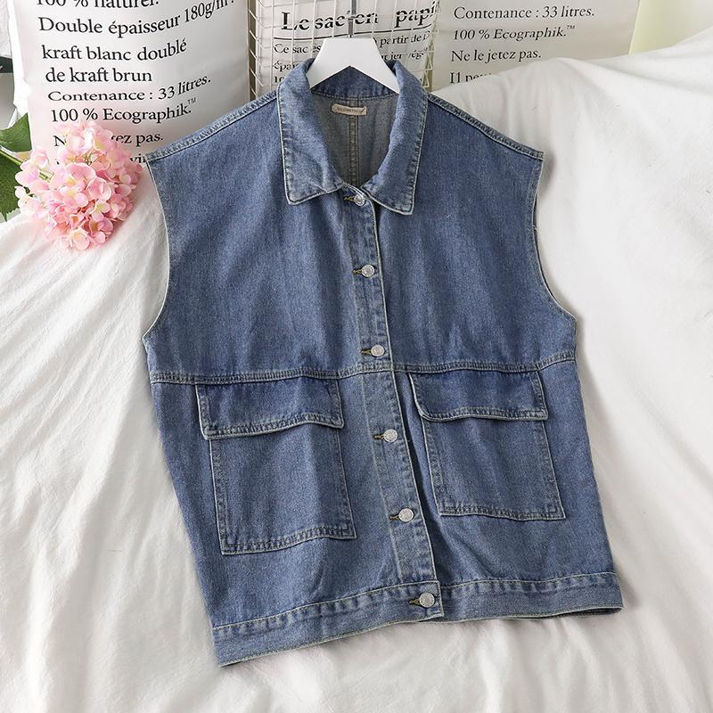 Meat 2021 New Spring Summer Fashion Casual Single Breasted Lazo suelto Camisa de manga larga Blue Denim Chaleco Top Mujeres SJ260