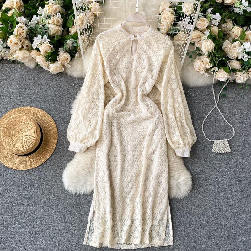 Abiti casual Vintage Cheongsam Dress Donne Fashion Moda-Neck-Neck Manica lunga Hollow 3D Ricamo Forchetta sottile elegante Vestidos Q326