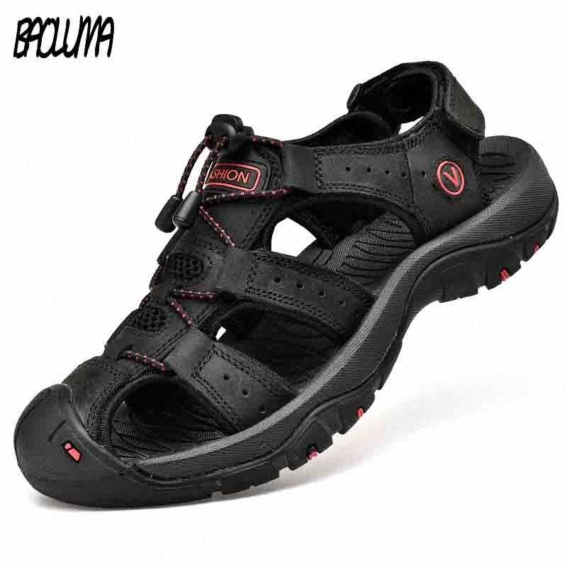 Sandales Mens classiques Sandal Sumle Sandales Spoues Conforcient Hommes Chaussures En Cuir Véritable Grand Taille Soft Extérieur Hommes Roman O06Y #