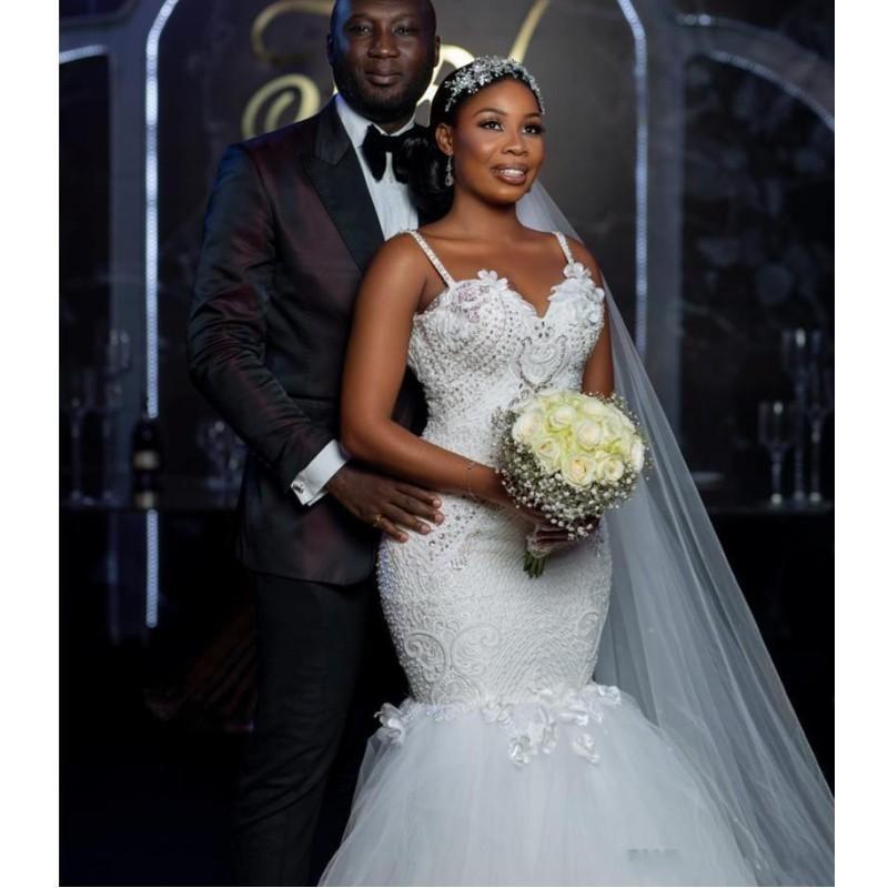 Скромные африканские новые размеры свадьба ES 2021 Vestido Novia с бисером кружевные ремни русалка свадебные платья плюс халат де марок W3F4