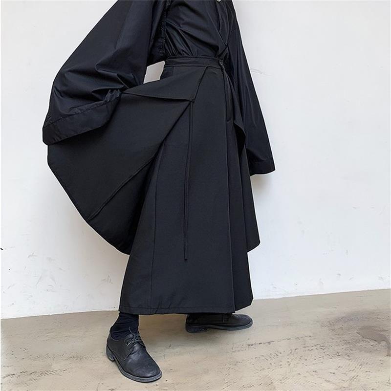 Erkek Pantolon İlkbahar Ve Sonbahar Gevşek Geniş Bacak Pantolon Büyük Çan Alt Erkek Yanlış İki Etek Pantolon Siyah Yamamoto Tarzı