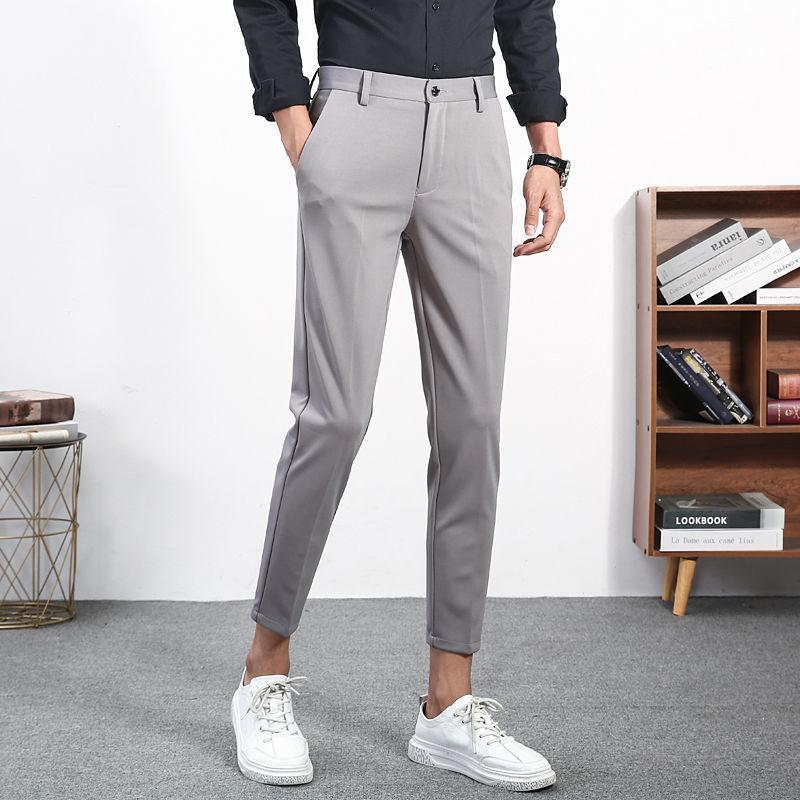 2021 Новый Весна Летний костюм Мужская тонкая мода Сплошной цвет Бизнес Повседневная Мужчины Прямые Брюки Мужские Брюки 9unm