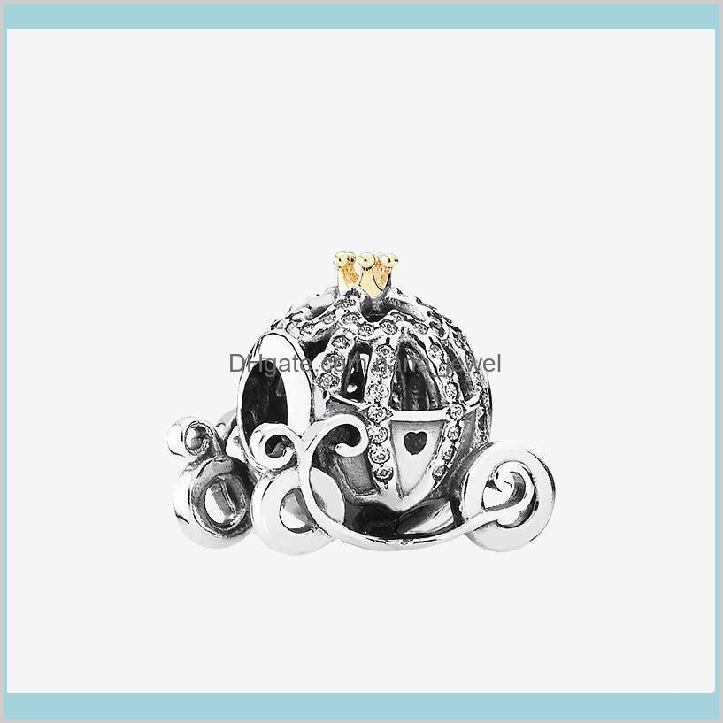 Autêntico 925 Sterling Silver Charme Acessórios de jóias com caixa original para Pandora Pumpkin Car Beads Bracelet DIY Encantos 93cml RDSWU