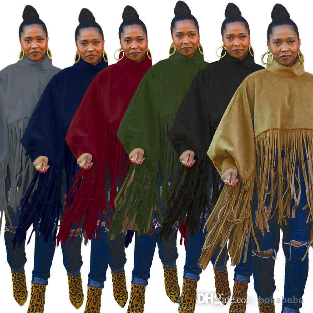 Women Long Sleeve Tassel Tops Fashion Solid Color Bat Blouse Dress Ladies Casual Shirts Chemise Femme Plus Size Coat S-XXXXXL