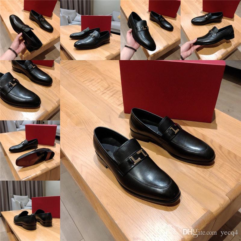 2020 새로운 고품질 소프트 암소 가죽 남성 신발 럭셔리 남자 갈색 비즈니스 드레스 신발 클래식 라운드 발가락 Moccasins Zapatos Hombre