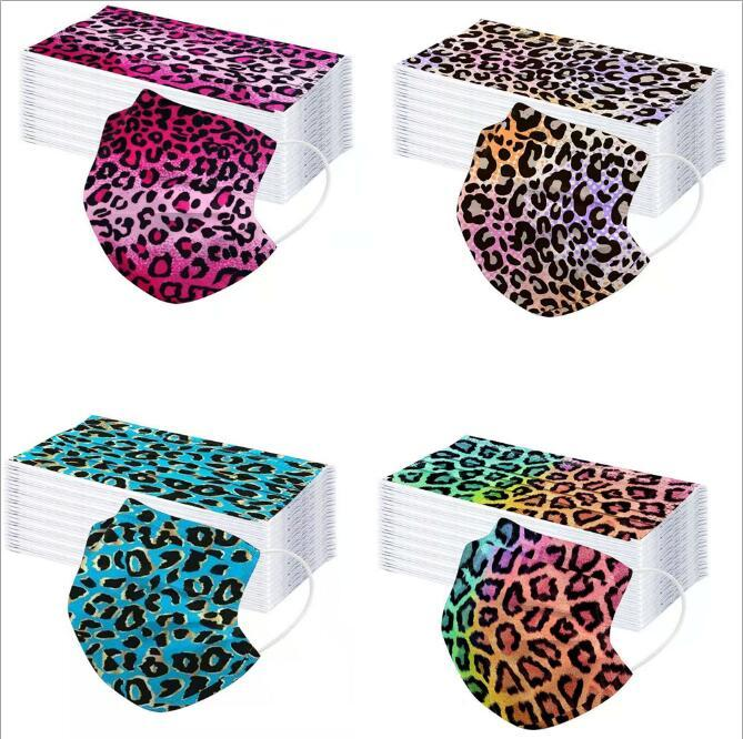 6 Style Adult Three Layers of Leopard Lace Disposable Mask Protective Masks with Melt-spray Personalized Printing Designer Masks OWB2503