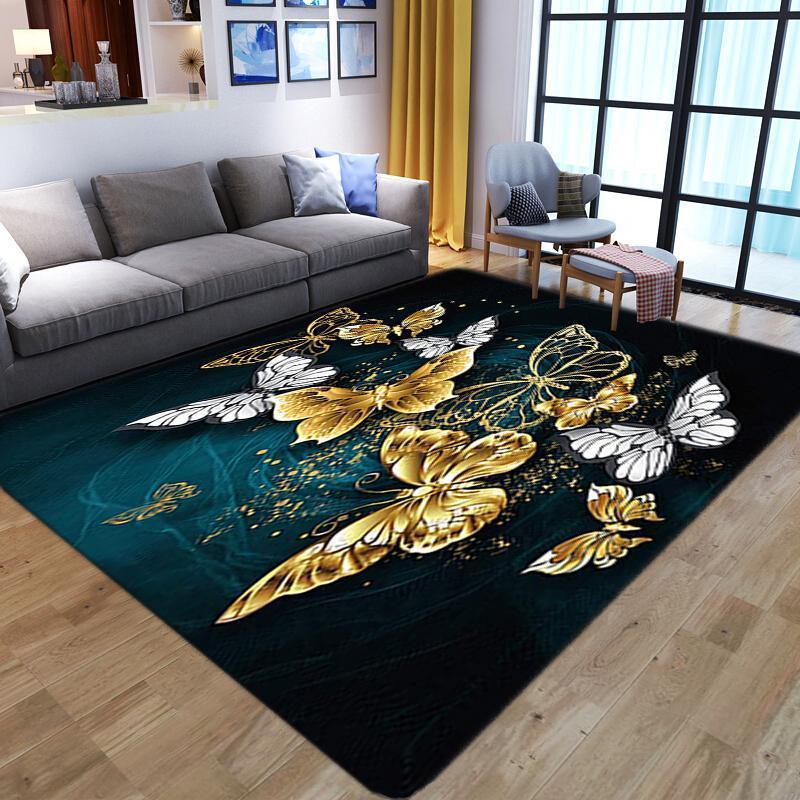 Tapis papillon 3D imprimé tapis enfants salle de sol de plancher décor à la maison pour salon chambre à coucher de chevet non glissé grand plateau de tapis de tapis