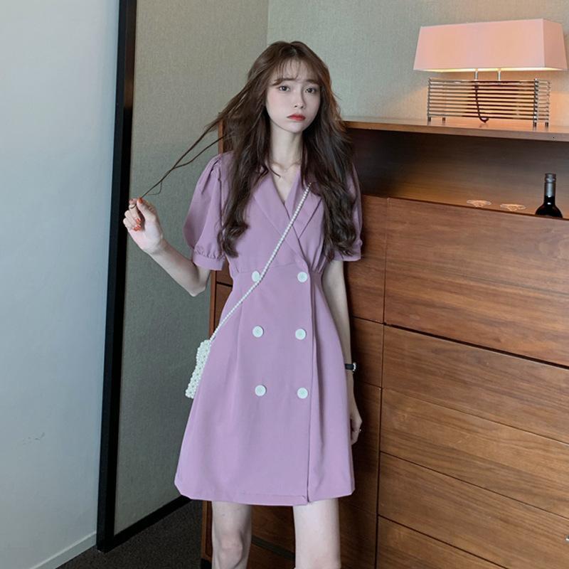 2021 Nuova vestito a doppio bottone da donna, manica corta sciolta, versione coreana, LFEP