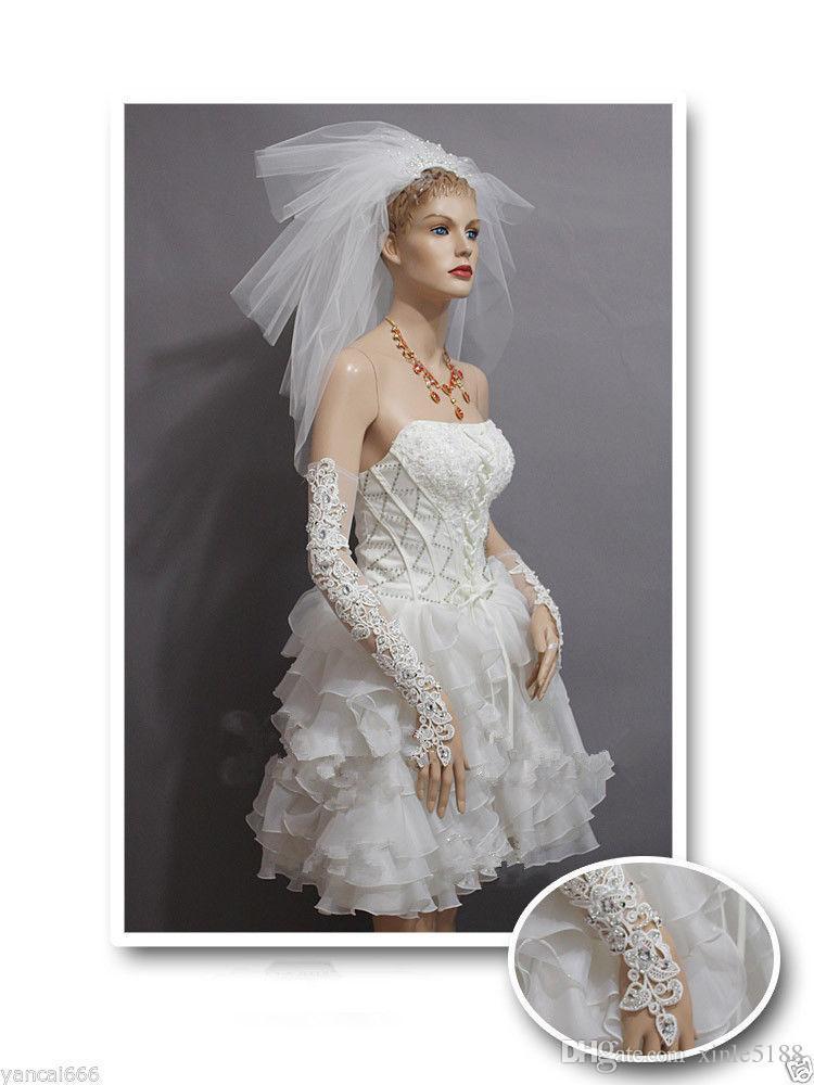 2021 Sıcak Satış Kısa Dantel Gelin Gelin Eldiven Düğün Eldiven Kristaller Düğün Aksesuarları Gelinler için Parmaksız Dantel Eldiven