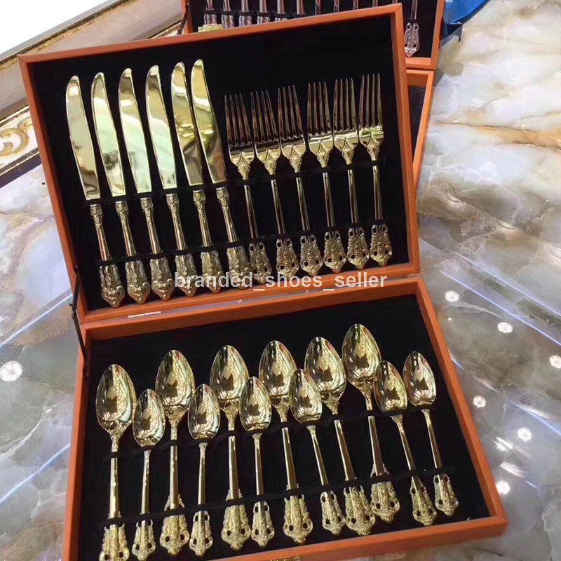 Set di stoviglie in oro 304 set di posate in acciaio inox Set di acciaio inox coltello forchetta cucchiaino cena argenteria set da cucina set da cucina