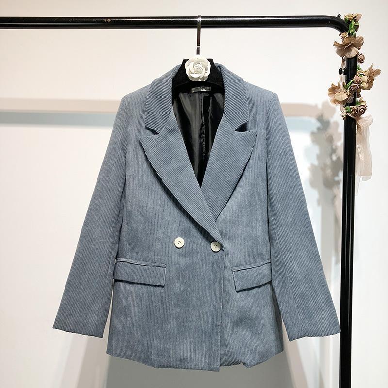 2021 جديد الخريف / الشتاء كودري السيدات سترة عارضة بلون فضفاض طويل الأكمام السيدات lazer جودة عالية أزياء البدلة الإناث