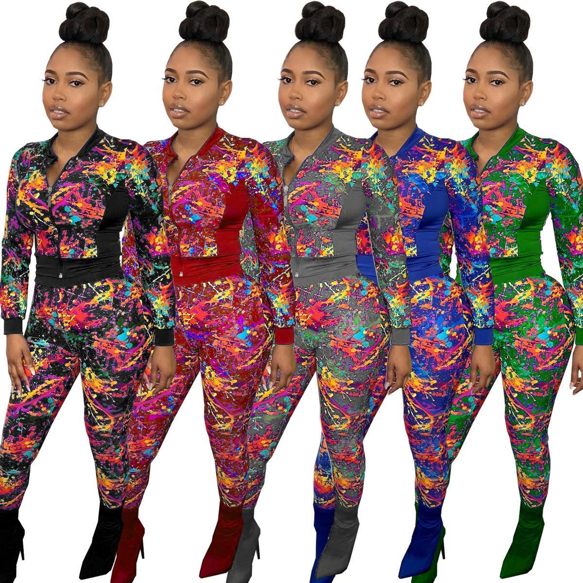 Женщины Мода Новый 2-х частей Набор цветных печатных трексецки Кардиган Длинный рукав Куртка Slim Эластичная одежда