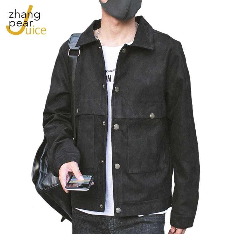 Мужчины уличная одежда черная стройная подходит для джинсов куртки человека повседневные куртки пальто мужчина сплошная ветровка