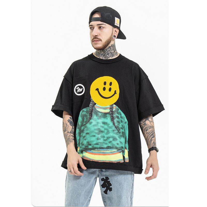 2021 New Original Girl Smiley Print Streetwear Short Sleeve Mens Tshirt Crew Neck Oversize Cotton Summer t Shirt Loose Hip Hop Tees Li5w