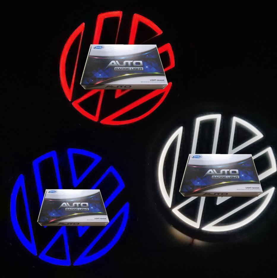 11 cm vw 5d led logo ışıkları için araba rozetleri amblem semboller lamba beyaz mavi kırmızı renk otomatik arka ışıklı ışık
