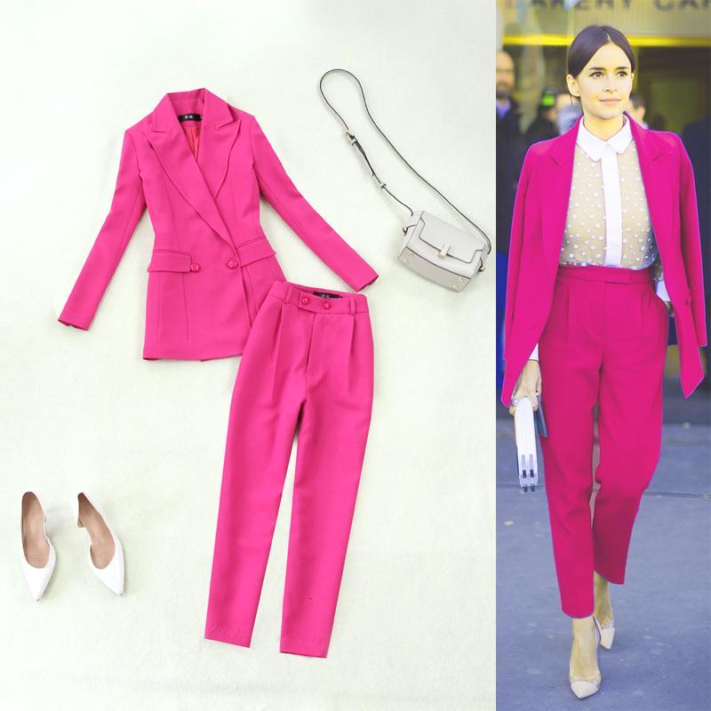 Zarif kadın boyutu 2021 ilkbahar ve yaz yeni pembe kırmızı bel kruvaze takım elbise + yüksek belli pantolon sonbahar t65m