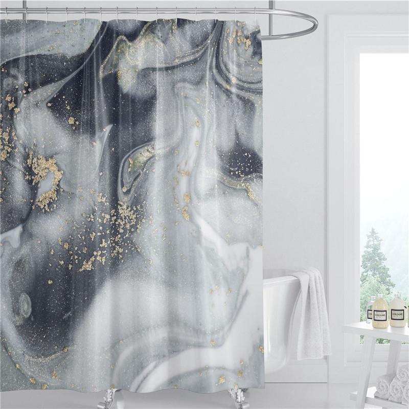 Cortina de ducha de patrón de mármol 180 cm Tela de poliéster a prueba de agua Decoración de baño Verano 3D Impreso Cortina de ducha con gancho AHA3956