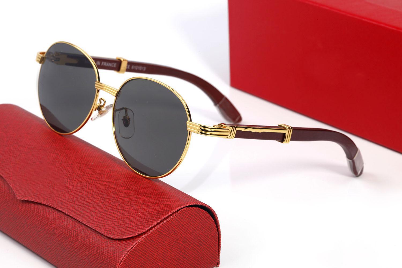 Moda Ahşap Güneş Gözlüğü Erkek Kadınlar için Yuvarlak Buffalo Boynuz Gözlük Gözlükler Spor Şık Lensler Bayan Kutuları ile Polarize Gözlük