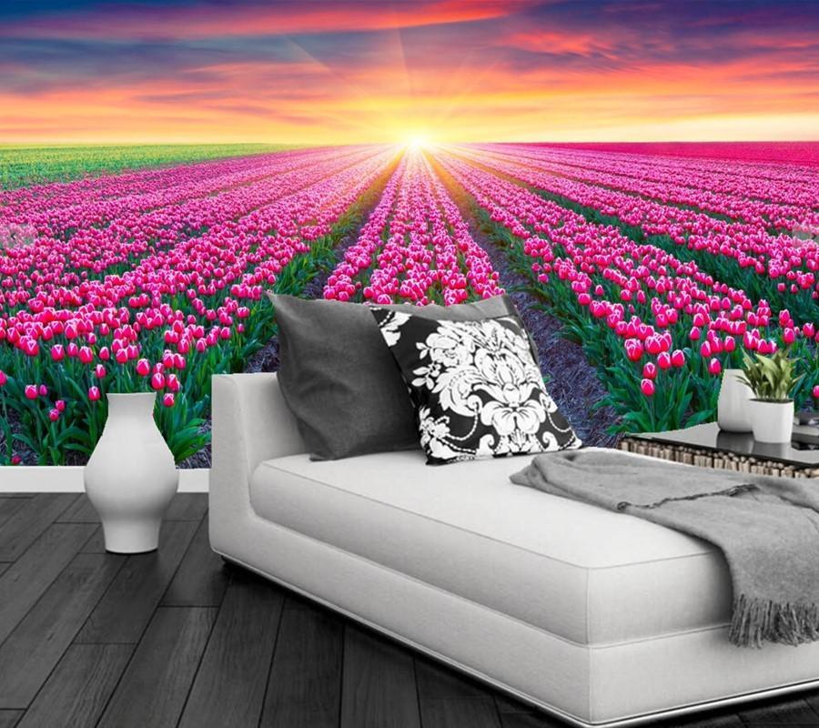 Bacal Custom Papel tapiz 3D Fondos mural Campos Tulipanes Sunrises and Sunsets Flowers Fondos de pantalla 3D para Sofá TV Dormitorio Papel de Parede