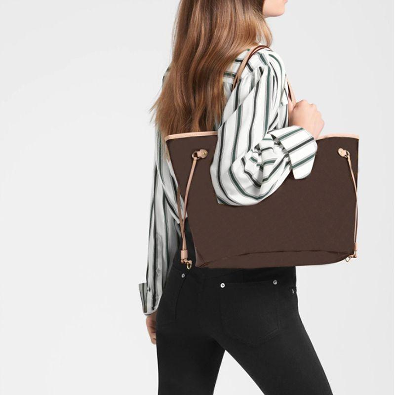 핸드백 도매 가격 판매 고품질 가죽 산화 Neverfulls mm GM Tahitienne 여성 토트 파우치 쇼핑 어깨 갈색 가방