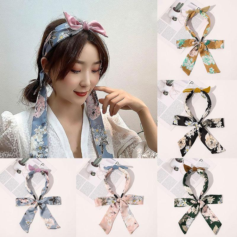 Fashion Hair Scrunchies Satin Long Ribbon Headband Bowknot Ties Rope Hair Scarf For Women POnytail Holder Hair Accessories