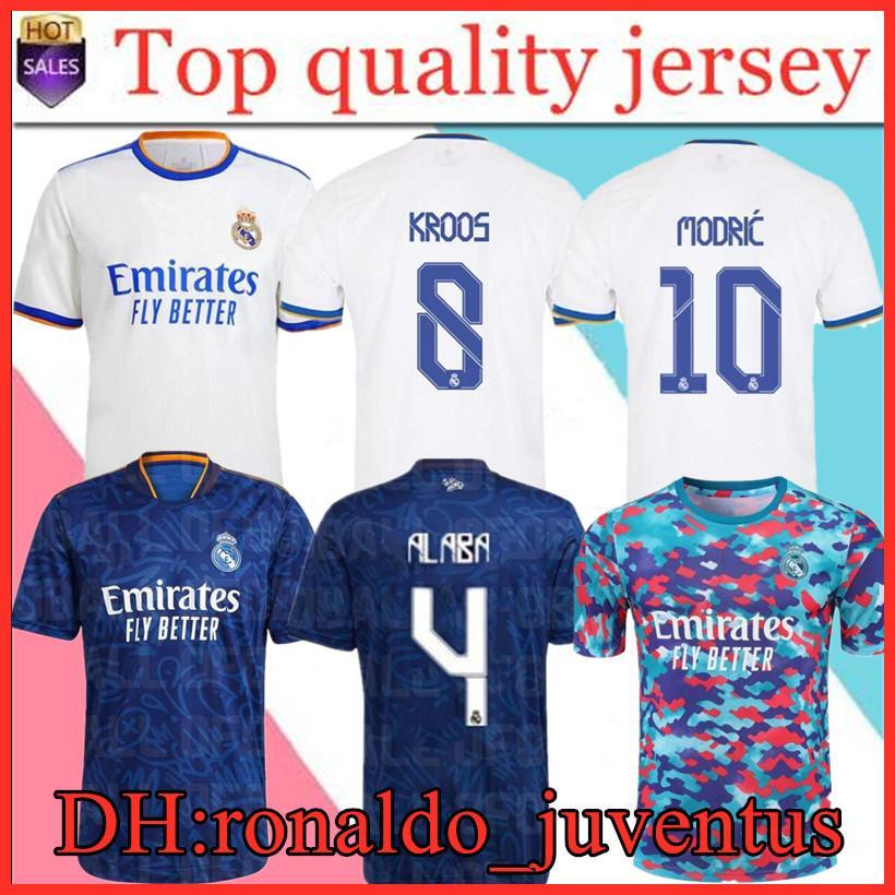 Real Madrid Jerseys 21 22 Top Thailandia fan giocatore Versione calcio Camicie di calcio da calcio Mbapppe Alaba Hazard Casemiro Modric Amiseta Benzema Men + Kids Kit set 2021 2022