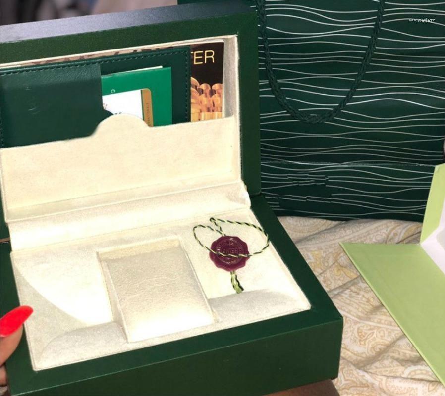 Смотреть коробки Чехлы Бренд Женщины Зеленый Ящик Оригинал С Картами и документами Сертификаты Сумки для 116610 116660 116710 Часы11