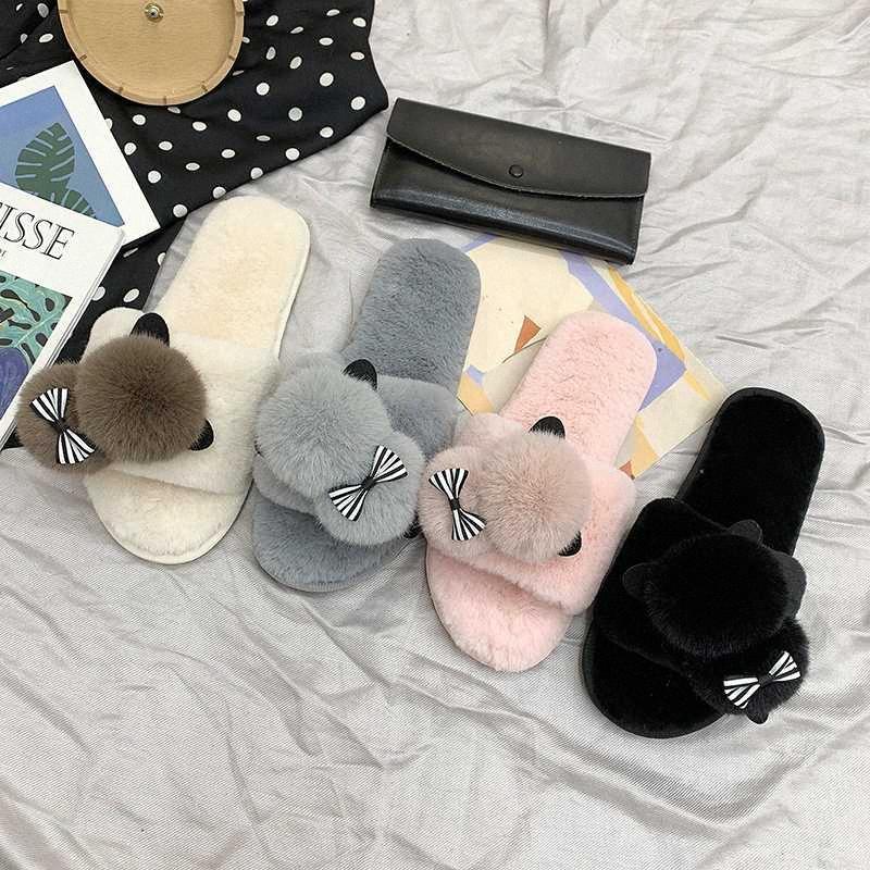 2020 New Winter Home Slippers Women Warm Cotton Lovely Fabric Slipper Indoor Mute Non Slip Bear Ears Flat Women Shoes Fur Slides 68A0#