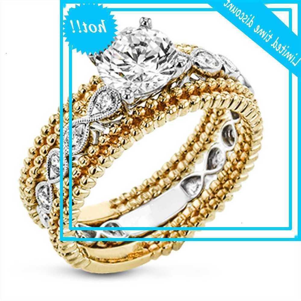 Роскошные женские белые вокруг кристаллов очарование золото серебряное цветное обручальное кольцо старинные Zirkoon камень вовлечения Великие кольца для женщин