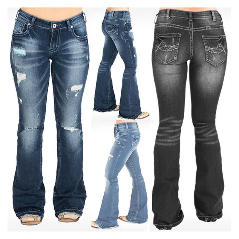 Jeans Femme 2020 Sonnerie Bell Jeans Maman Taille haute Mode Fashion Fashion Hole Blackming Pantalon évasé Denim Pantalons