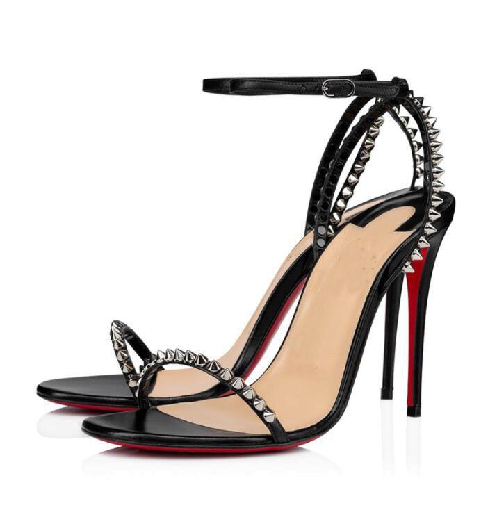 최고의 럭셔리 여름 여성 샌들! 인기있는 붉은 바닥 그래서 스파이크 하이힐 발목 스트랩 섹시한 인기 검은 색의 샌들 eu35-43