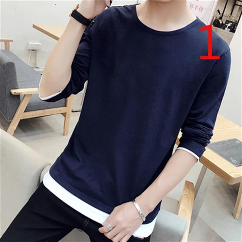2021 Мужская футболка с длинным рукавом корейская тенденция Новая осенью и зима плюс Ветка хлопковая рубашка дна Топ 0oay