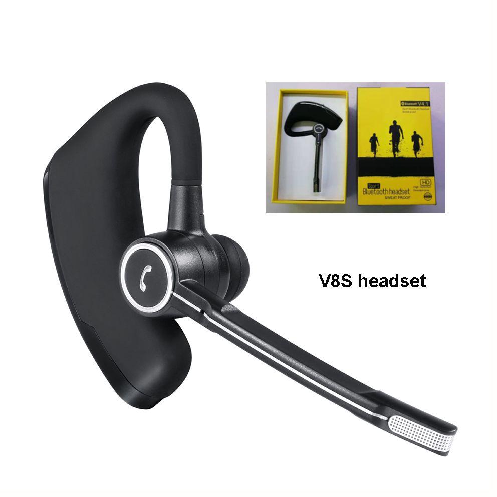 V8 V8S CSR 칩 V4.1 무선 블루투스 헤드폰 스테레오 헤드셋 이어 버드가있는 마이크 음성 제어 고품질