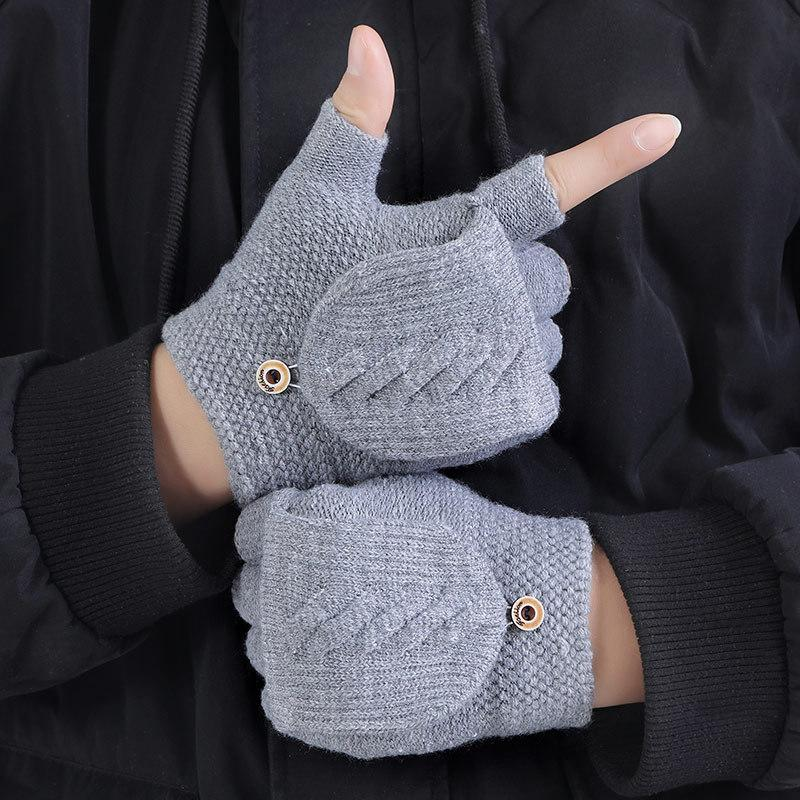 Driving Tactical Gloves Winter Men Adult Knitted Half Finger Warm Padded Outdoor Black Glove