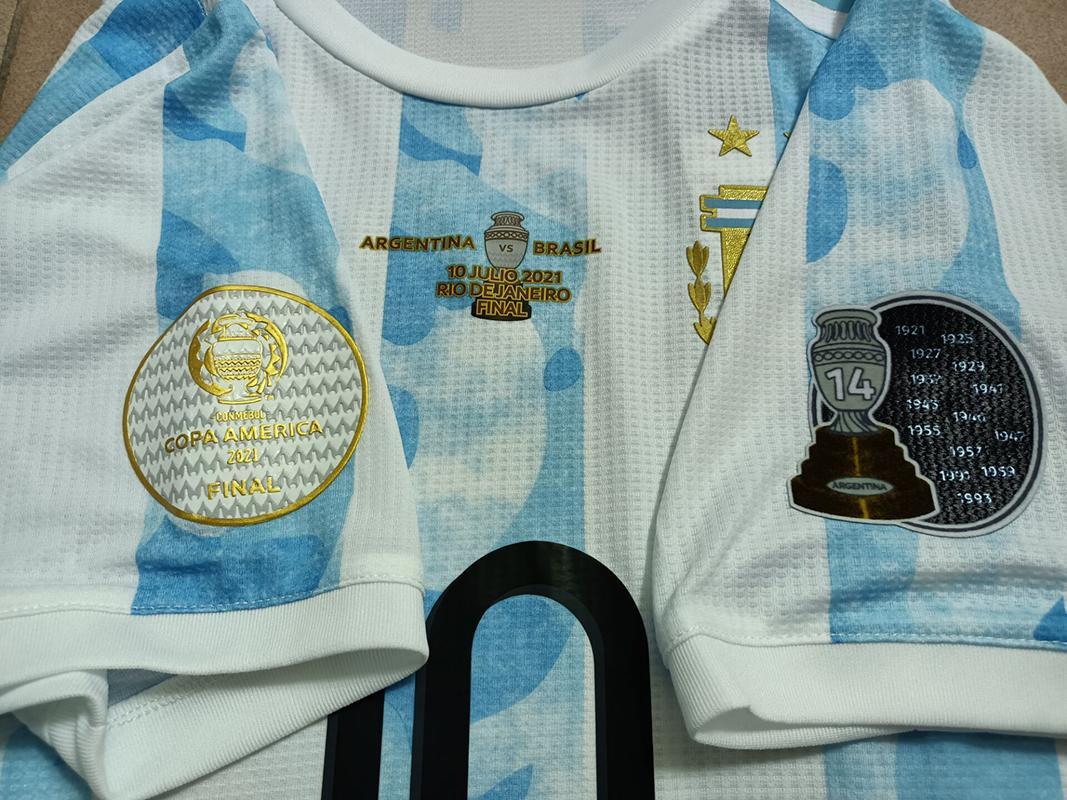 Versão do jogador Argentina Futebol Jersey Copa América final 10 Julio 2021 # 10 Messi camisa de futebol # 11 di uniforme de futebol de Maria + patch-14