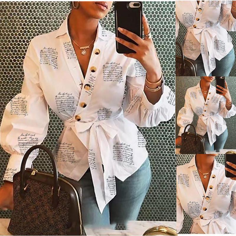 Otoño 2021 Moda de manga larga Mujeres en V cuello y blusas Blusas Muyer de Moda Vendaje Mujer Tops Streetwear Trajes Ropa
